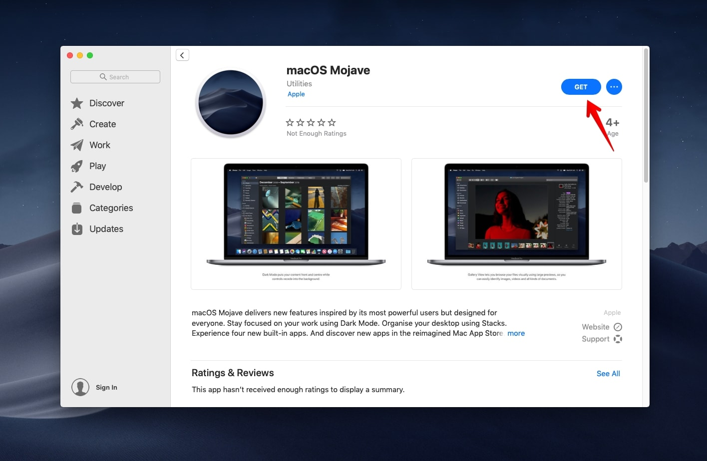 Get macOS Mojave on App Store