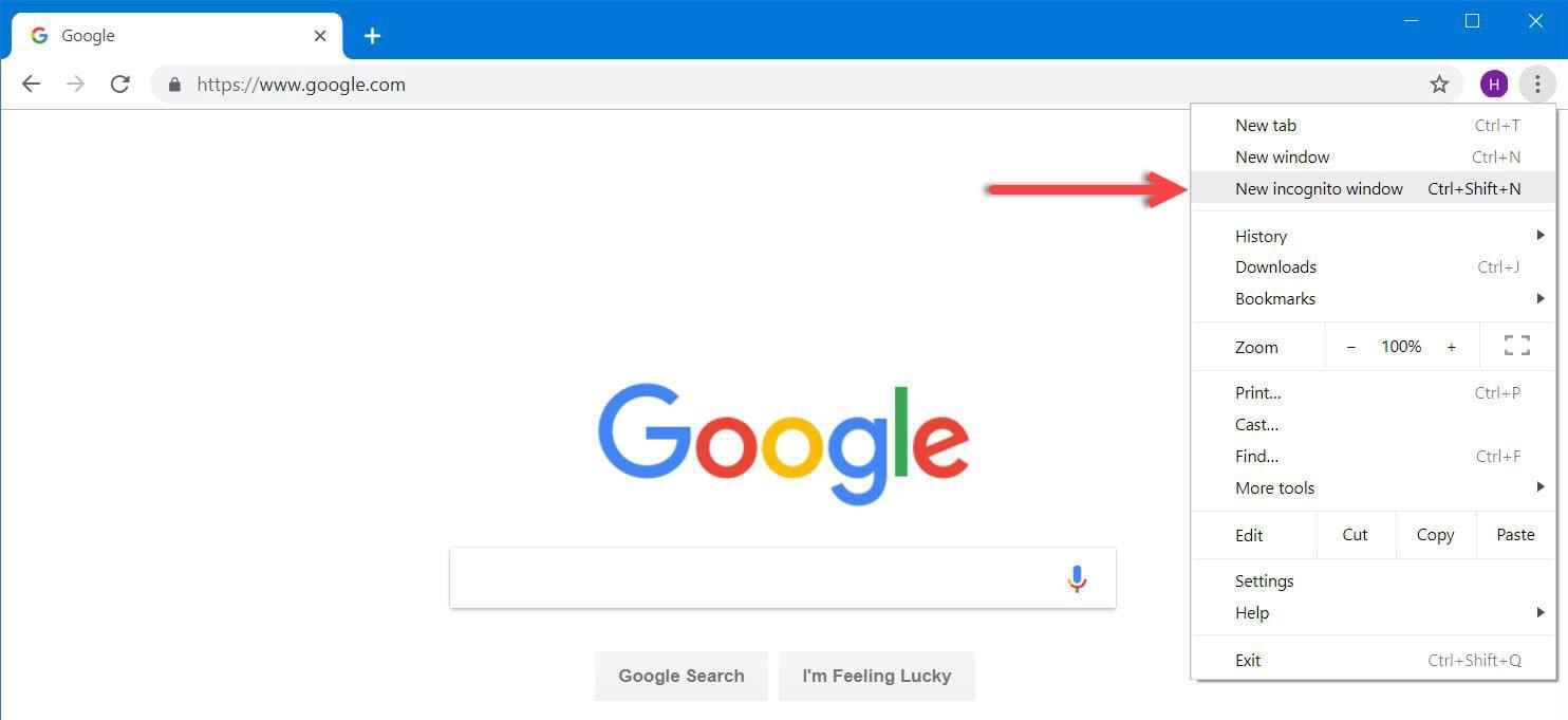 Google Chrome - Incognato Mode