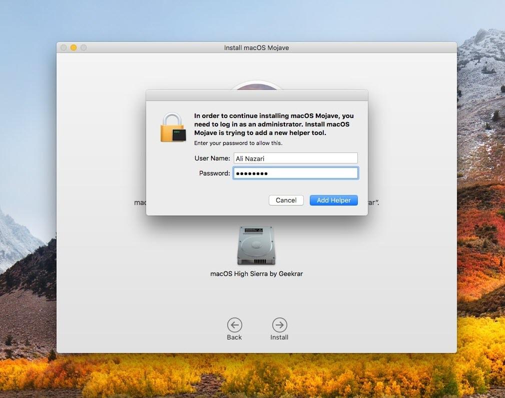 Upgrade macOS High Sierra to macOS Mojave on VMware