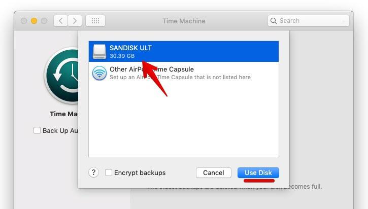 Select Backup Disk