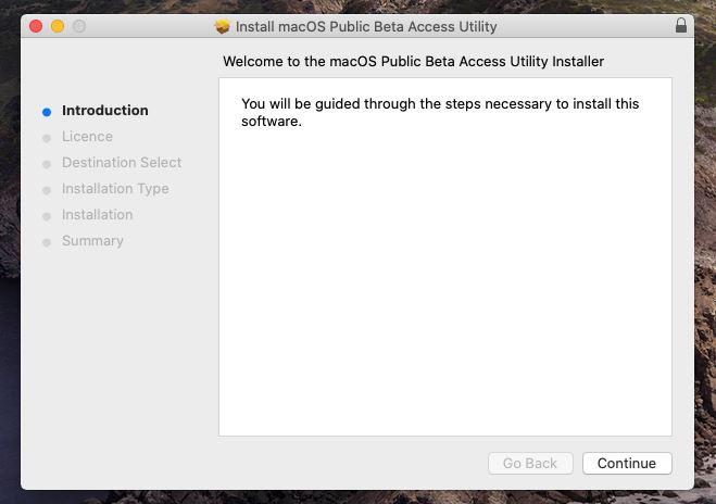 Install macOS Public Beta Access Utility
