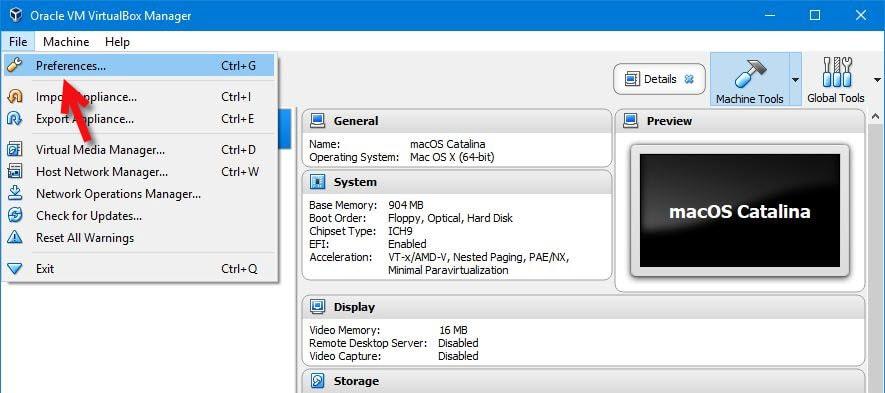 VirtualBox Prefrences