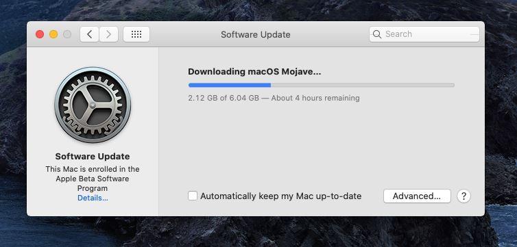 macOS Mojave downloading