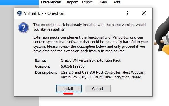 Install VirtualBox Extension Pack