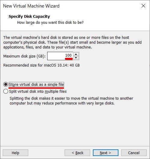 Specify Disk Capactiy