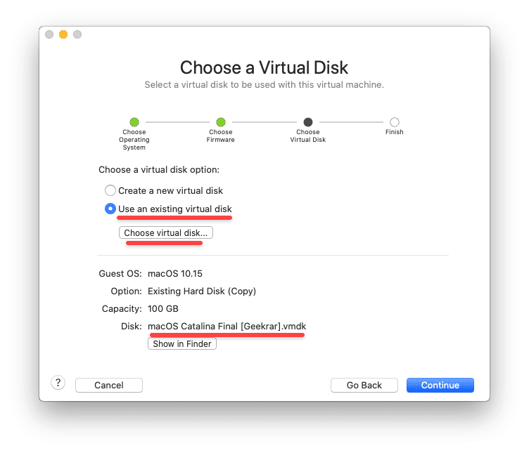 Choose a virtual disk