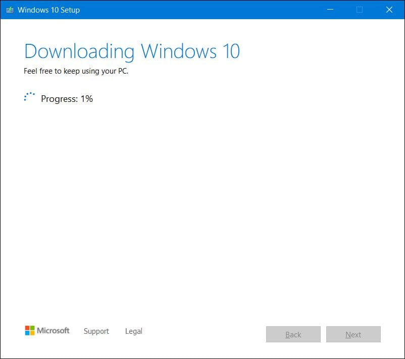 Downloading Windows 10 ISO
