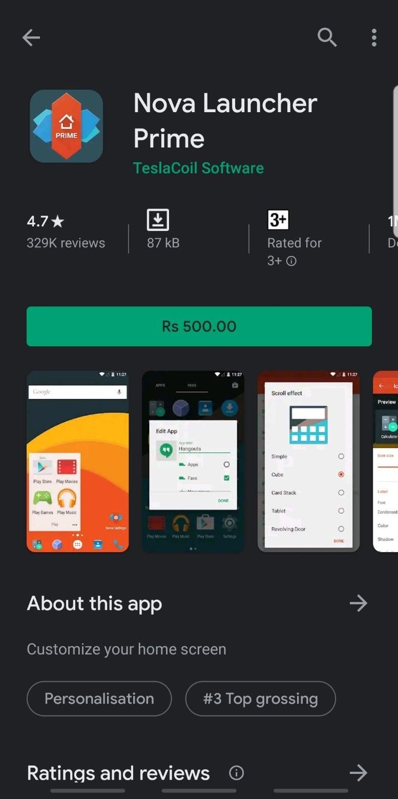 Nova Launcher Prime on Google Play Store