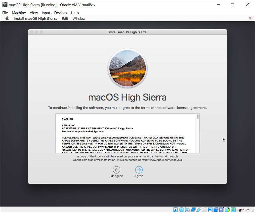 Install macOS High Sierra on VirtualBox on Windows PC