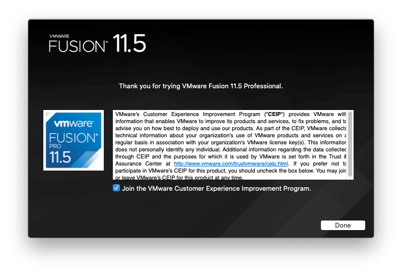 VMware Fusion Installed