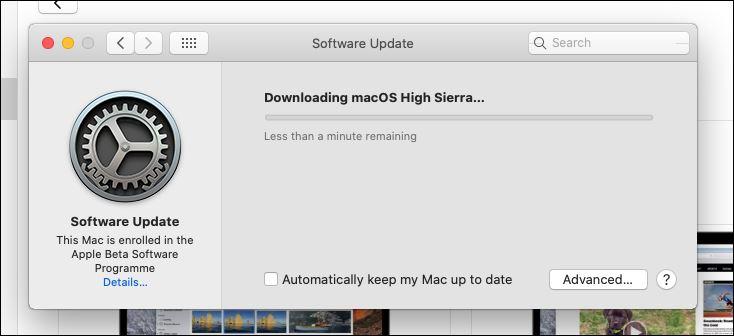 Downloading macOS High Sierra