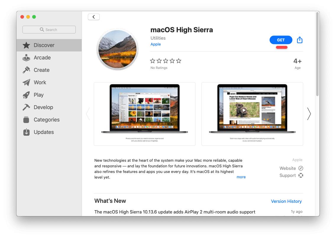 Get macOS High Sierra on App Store