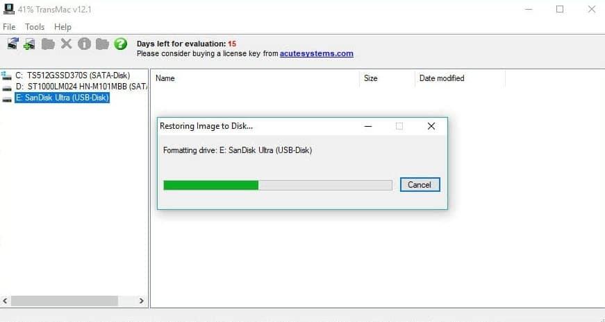Restoring image to Disk
