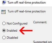 realtimeprotection enable